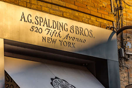 RAVENNA, ITALY - FEBRUARY 15, 2018: A.G. SPALDING AND BROS. sign of street shop. Spalding Sporting Goods Ltd owner of the brand granted license to Italian distributor until 31 December 2018. 報道画像