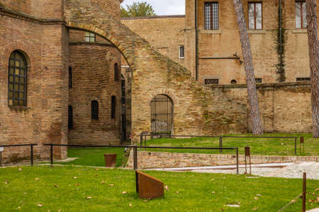 RAVENNA, ITALY - FEBRUARY 25, 2018: In 2017 more than three million tourists visited the art cities of Emilia Romagna to enjoy UNESCO destinations as the Basilica of San Vitale in Ravenna. Editorial
