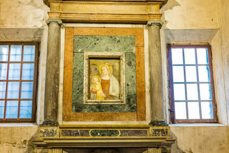 RAVENNA, ITALY - FEBRUARY 25, 2018: In 2017 more than 3 million tourists visited the art cities of Emilia Romagna to enjoy UNESCO attractions as the  Saint Apollinaris Basilica in Ravenna Editorial