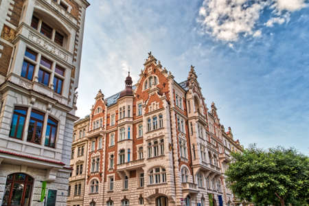 PRAGUE, CZECH REPUBLIC - AUGUST 27, 2018: sun lights ancient buildings in the historical center of Prague Editorial