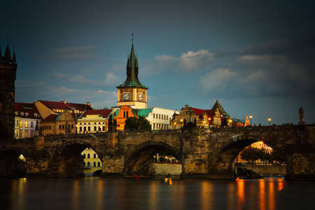 night view of Charles Bridge on Vltava river in Prague