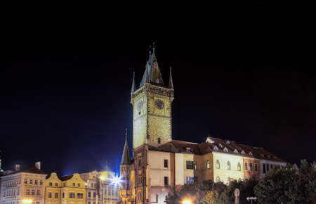 night view of astronomical clock in  Old Town Square in Prague Stock Photo