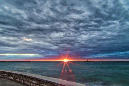 Sunset on seascape of Croatia Stock Photo