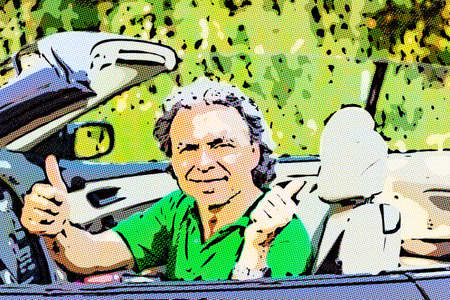 mature man driving a convertible car  is happy and shows his satisfaction by smiling and raising his thumbs, illustration