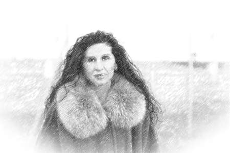 illustration of  Menopausal woman with wrinkles dressed with fur collar and coat on winter beach