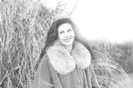 illustration of  Menopausal woman with wrinkles dressed with fur collar and coat on background of pampas grass