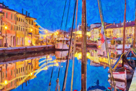 illustration of blue hour at sunset on the port channel of Cesenatico, best tourist destination of the Romagna Riviera in Italy