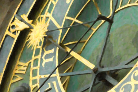 Oil Paint illustration of the medieval astronomical clock in the Old Town square in Prague Stock fotó