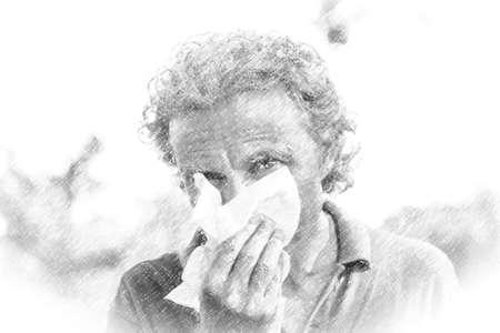 Ilustración de hombre de mediana edad con cabello largo gris y barba de tres días hombre se suena la nariz con una toalla de papel blanca