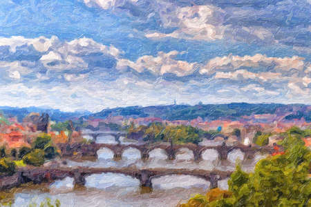 Thick paint illustration of bridges of Prague