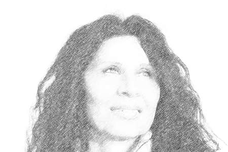 illustration of menopausal Caucasian woman with Arabic traits,  black hair, wrinkles and othe defects of ageing skin smiling