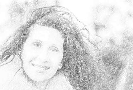 illustration of a beautiful smiling mature woman wearing orange fur collar