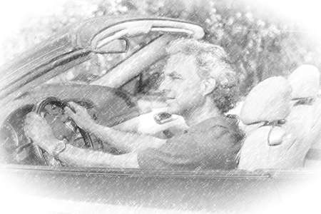illustration of mature man driving a convertible car  is thoughtful