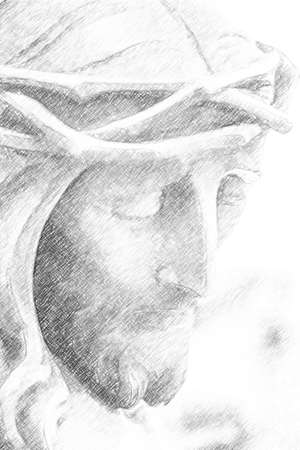 illustration of Jesus Christ with crown of thorns suffering on the Cross