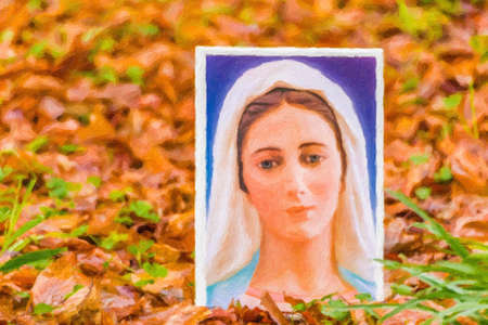 illustration of the Blessed Virgin Mary on an autumnal carpet of leaves
