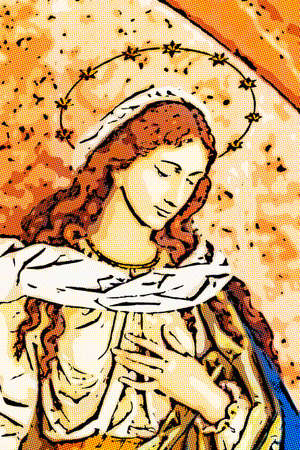 comics illustration of The Blessed Virgin Mary Stock Illustration - 100743328