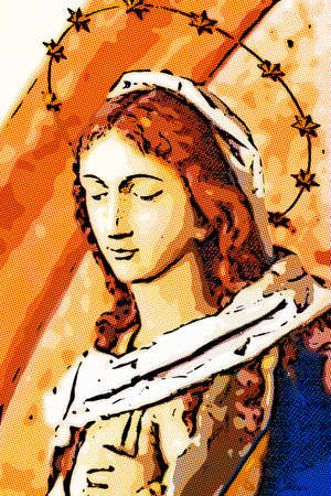 comics illustration of The Blessed Virgin Mary Stock Illustration - 100732611