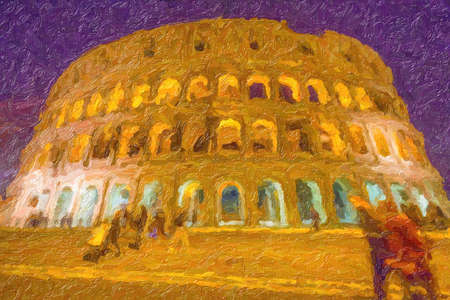 illustration of Night view of ruins of the Roman amphitheater in Rome, Italy