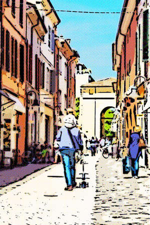 illustration of Little baby astride on the shoulders of dad walking through the historic center of an Italian city