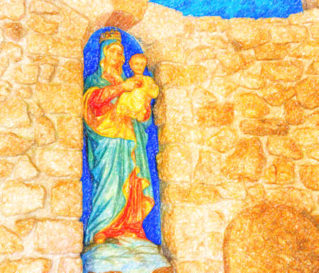 illusion of the Blessed Virgin Mary with Baby Jesus on stone walls Stock Photo - 100895324