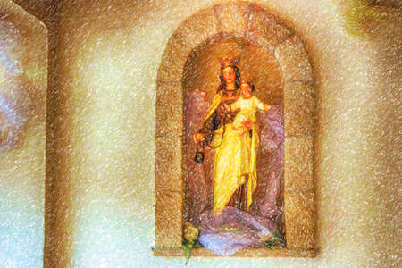 illusion of the Blessed Virgin Mary with Baby Jesus on stone walls