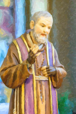 illustration of The blessing Saint Pio of Pietrelcina Imagens - 100895325