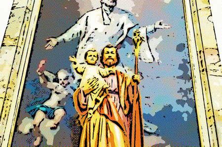 Illustration of Blessed Saint Joseph with Holy Child Jesus