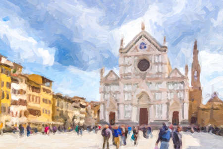 illusion of Basilica of Santa Croce, meaning Holy Cross, in Firenze, Italy