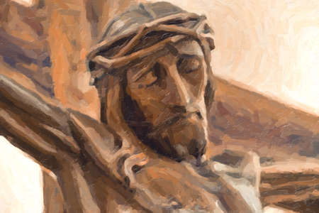 illustration of the face of Jesus crucified on the cross