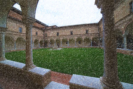 Illustration of charming Old Franciscan Cloisters in Italy