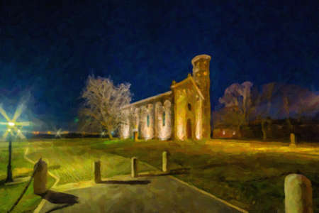 illustration of night view of the brick walls of an old Catholic church with one of the oldest  belltowers in Italy