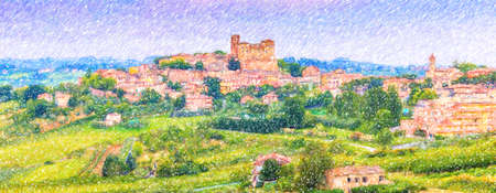 illustration of the medieval castle overlooking the colorful houses of the charming mountain town of Longiano, near Cesena, Italy Stok Fotoğraf