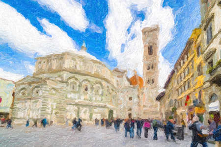 illustration of Cathedral and baptistery in Florence, Italy 写真素材