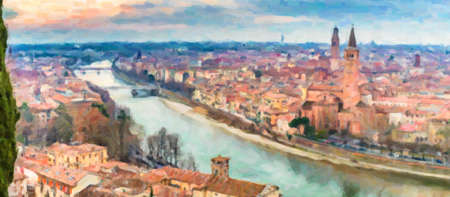 illustration of  panorama of the Adige River as it passes through the houses and historical buildings of Verona in Italy, known as romantic city of love