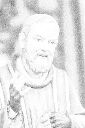 illustration of Saint Father Pius with his gloved hands to cover the stigmata while holding a rosary Editorial