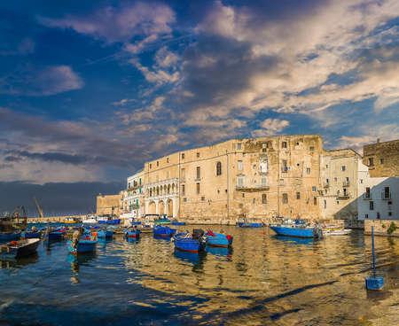 boats in the marina of Monopoli in Italy Фото со стока