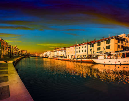 Sunset on channel port designed by Leonardo Da Vinci in Italy