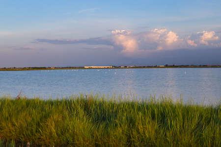deep sunset on brackish wetlands 스톡 콘텐츠 - 104452185