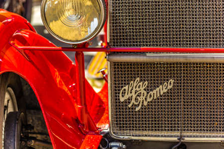 FAENZA (RA), ITALY - JUNE 9, 2018: an ALFA ROMEO car shows in historic cars rally Autogirovagando