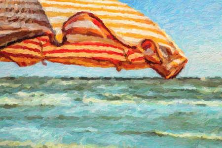impressionist illustration of wind on orange stripes sunshade