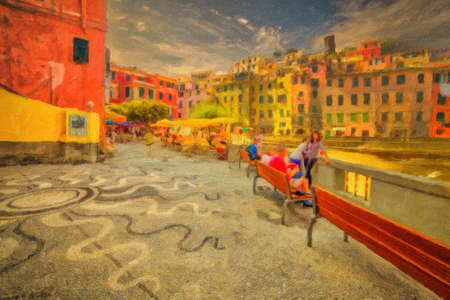 illustration of the center of Vernazza in Cinque Terre