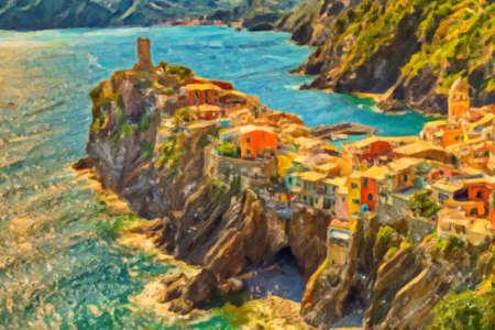 illustration of Vernazza, Italian sea town on rocky cape in Cinque Terre