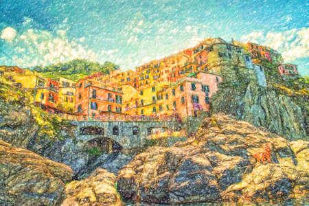 illustration of Manarola in Cinque Terre Stock Photo