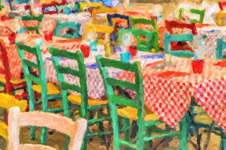 impressionist illustration of colorful tables in Italian restaurant