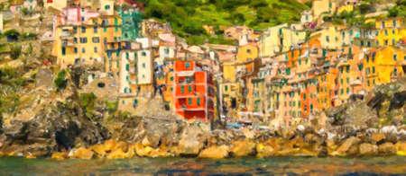 illustration of Riomaggiore, Italian sea town in Cinque Terre