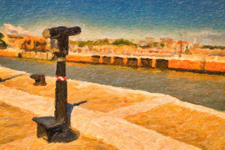 illustration of Panoramic telescope on sea harbour on Adriatic riviera in sunny day