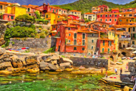 Illustration of typical colorful fishing houses on bay of sea town of Cinque Terre coast in Italy 스톡 콘텐츠 - 104873742