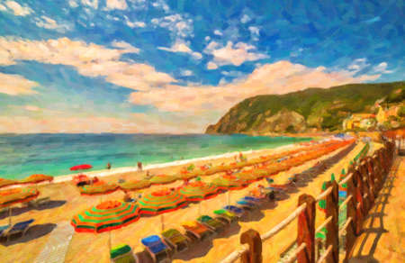 illustration of tourists sunbathing on beach of Monterosso al Mare in Cinque terre in Italy Stockfoto