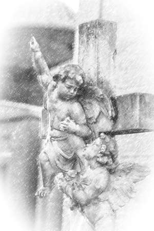 illustration of two little angels reaching for the sky on the cross