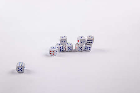 Stacks of game dice isolated on white background Фото со стока - 106225535